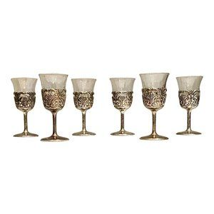 Set of Sterling Silver Cordial Glasses-Set of 6